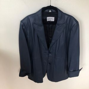 Pamela McCoy Blue Leather Jacket 2X